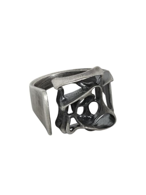 Retro silver [13 adjustable] 925 Sterling Silver Hollow Geometric Vintage Band Ring